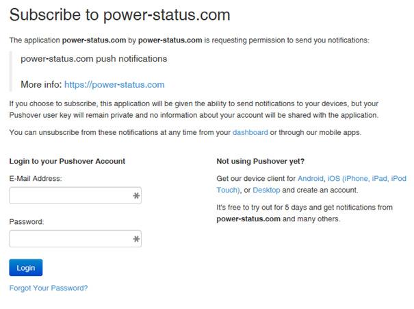 Pushover Power-Netz Status abonnieren