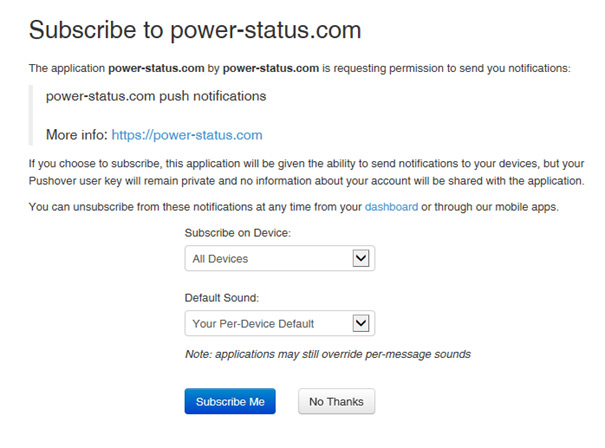 Pushover Subscribe to power-status.com