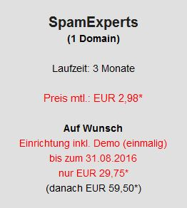 SpamExperts 1 Domain