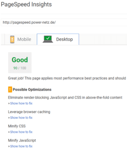 PageSpeed Insights Good