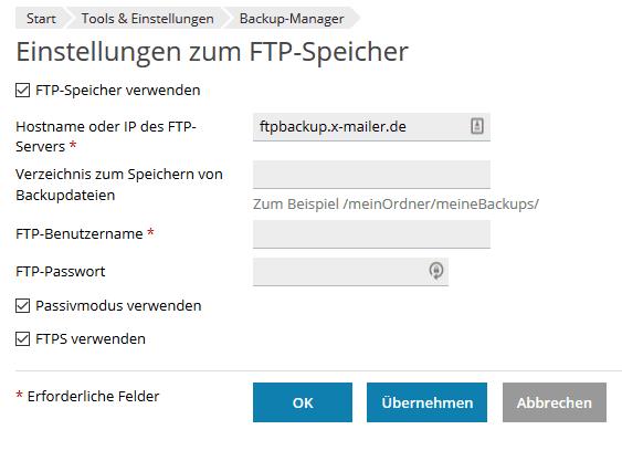 Die Einrichtung des Backupspeicherplatzes innerhalb des Plesk-Interfaces ist denkbar einfach.