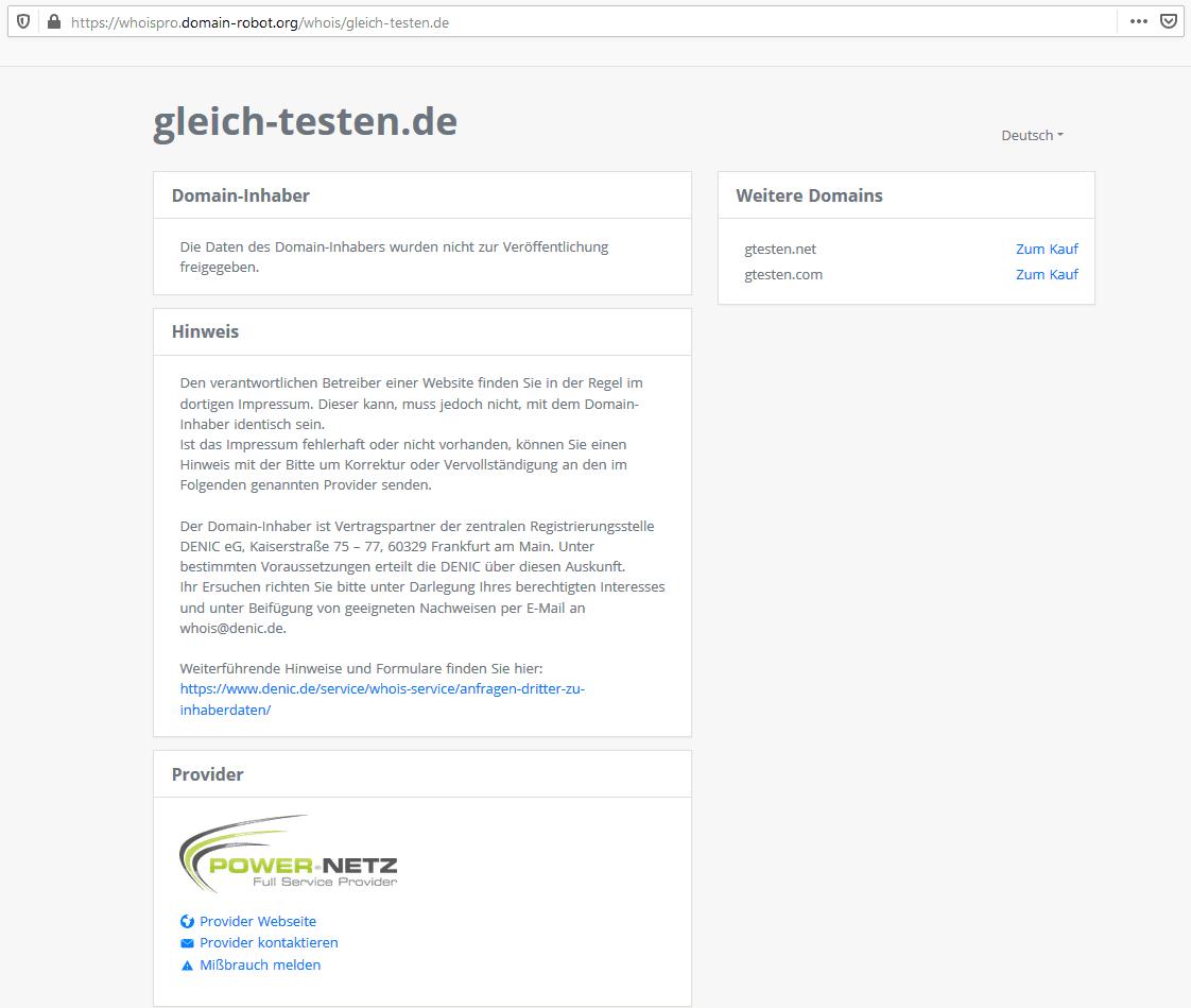 Whois Pro Service Webseite für .de Domains