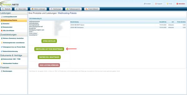 Umstellung auf Plesk im Kundenlogin (Webhosting)
