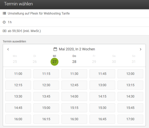 Umstellung auf Plesk - Terminbuchung (Webhosting)