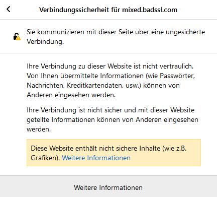 Browser Verbindung ist nicht sicher