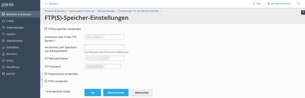 Plesk Backup Remote Speicher Zugangsdaten