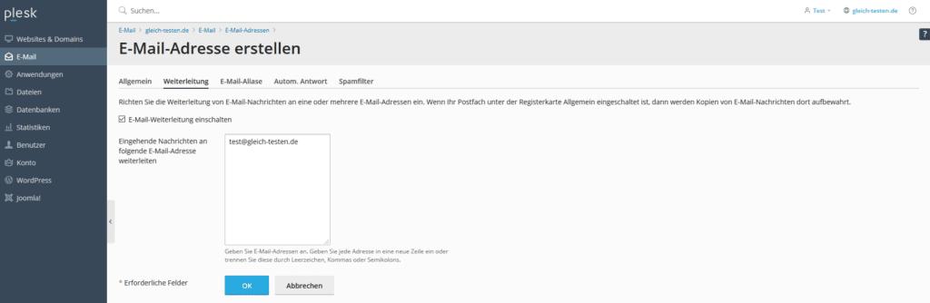 Plesk E-Mail Adresse anlegen - Weiterleitung