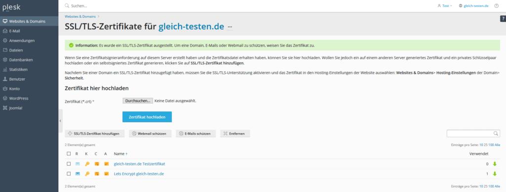 Plesk SSL-Zertifikat - Hochladen abgeschlossen
