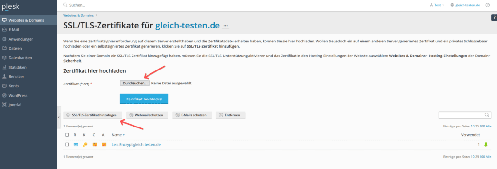 Plesk SSL-Zertifikat hochladen