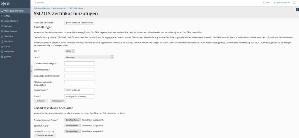 Plesk SSL-Zertifikat - Teildateien hochladen