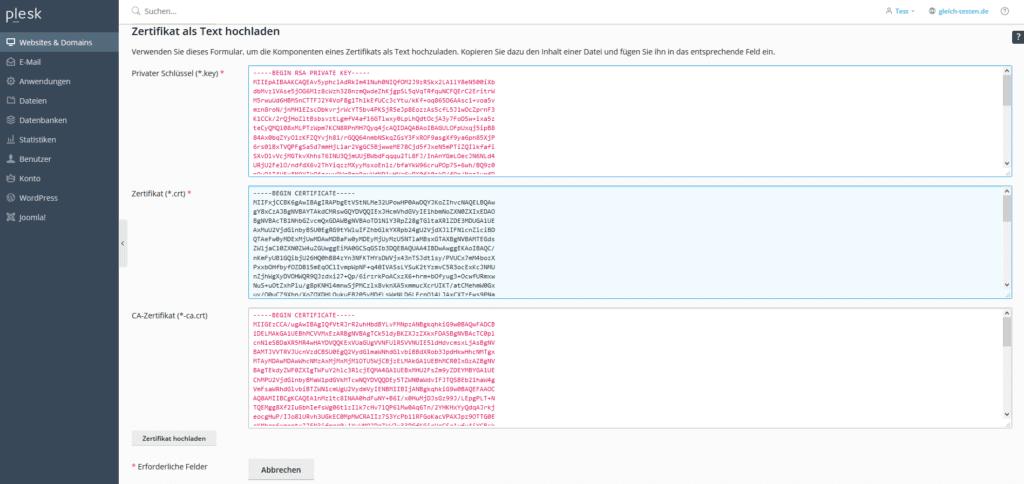 Plesk SSL-Zertifikat - als Text hochladen