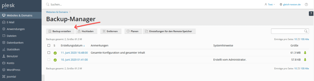 Plesk WordPress Backup erstellen