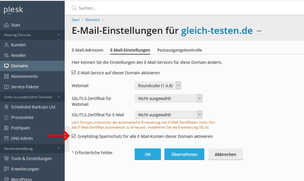 Plesk Admin Einstellungen Spamfilter Greylisting