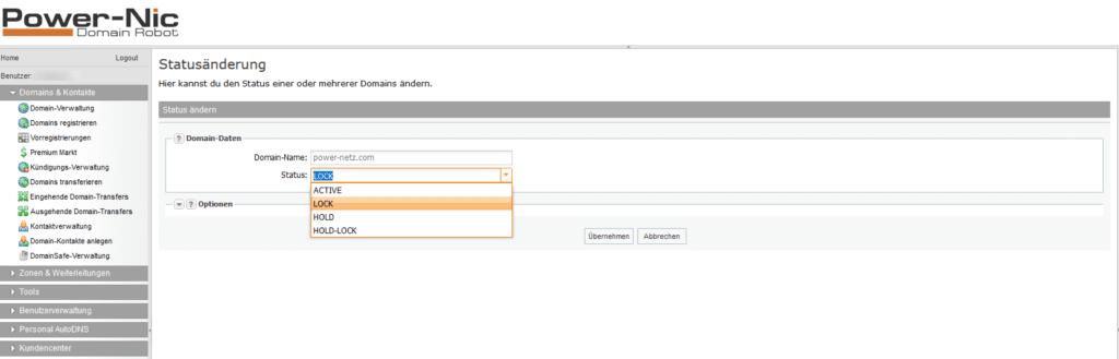 Domain Status Locked - Status wählen
