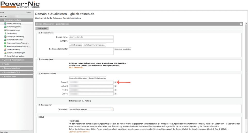 Domaininhaber Daten - Domainrobot Domain-Kontakt bearbeiten