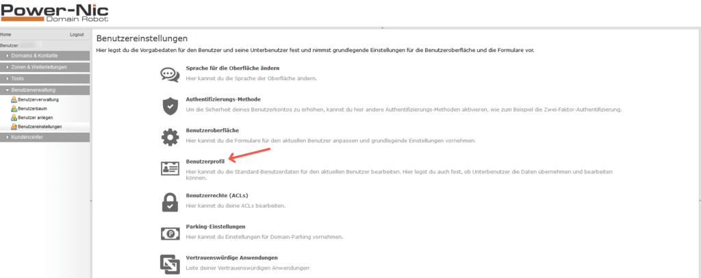 Domainupdate - Benutzer Einstellungen