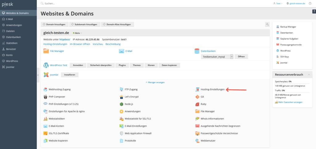 Plesk: PHP Version ändern - Hosting-Einstellungen