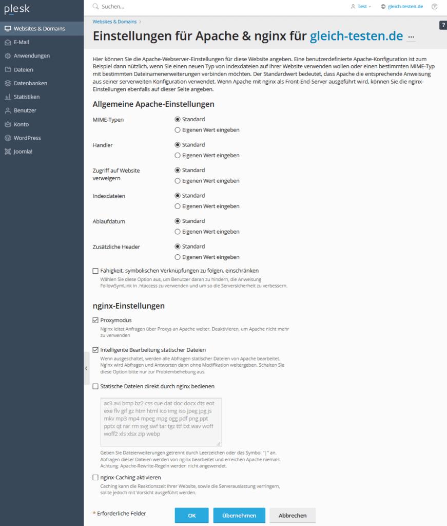 Plesk erste Schritte - Apache und nginx Einstellungen