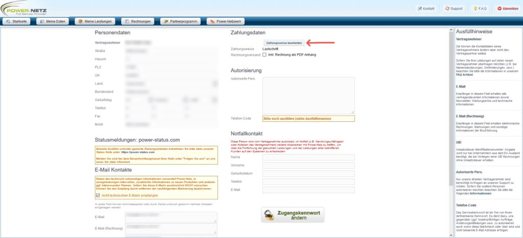 Zahlungsweise - Kundenlogin Zahlungsweise bearbeiten