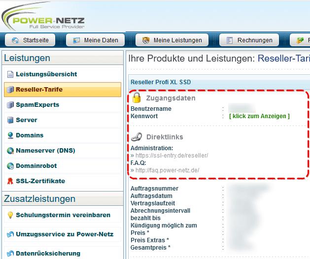 Kundenlogin: Reseller-Interface Zugangsdaten