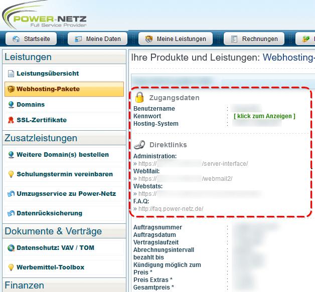 Kundenlogin: Server-Interface Zugangsdaten
