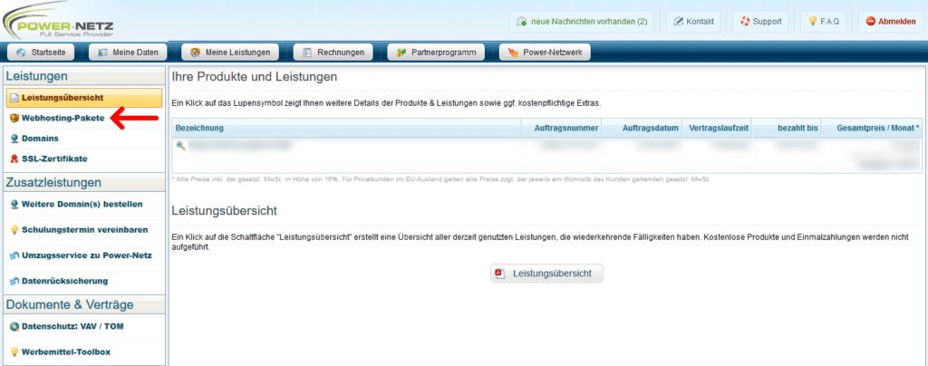 Kundenlogin: Webhosting - Leistungsübersicht