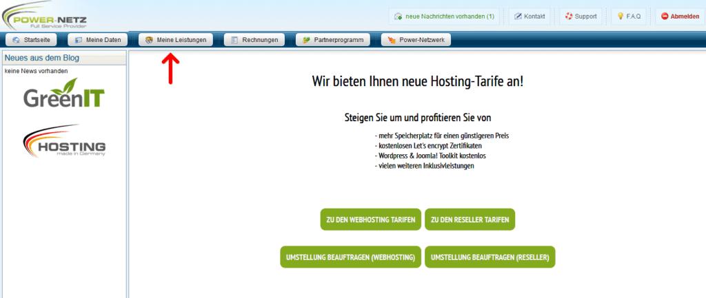 Kundenlogin: Webhosting - Meine Leistungen