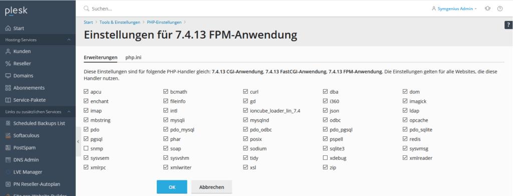 Plesk: Einstellungen für 7.4.13 FPM-Anwendung