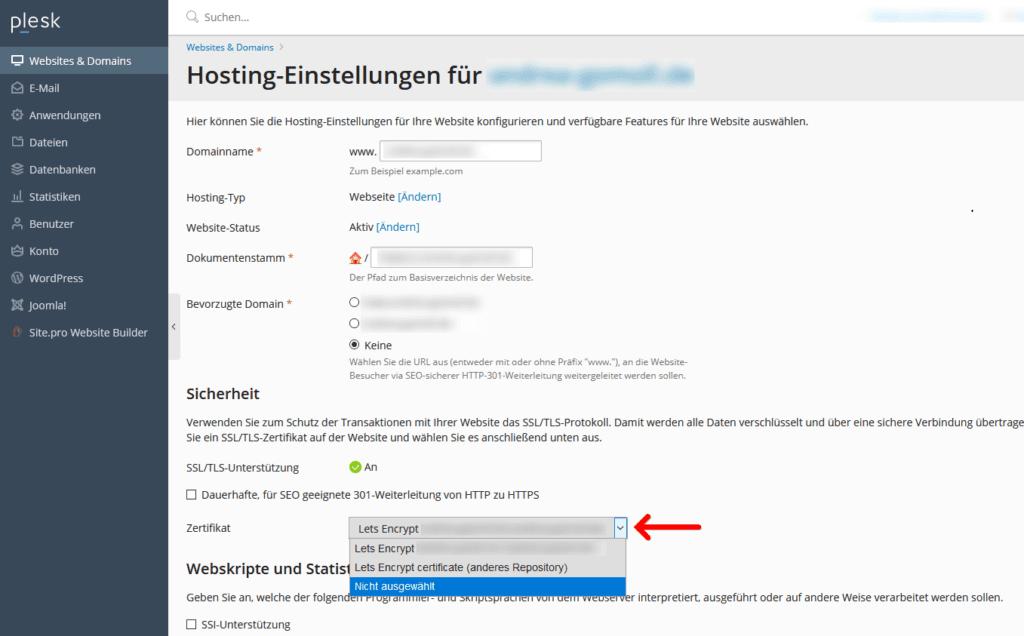 Plesk: Hosting-Einstellungen Zertifikat
