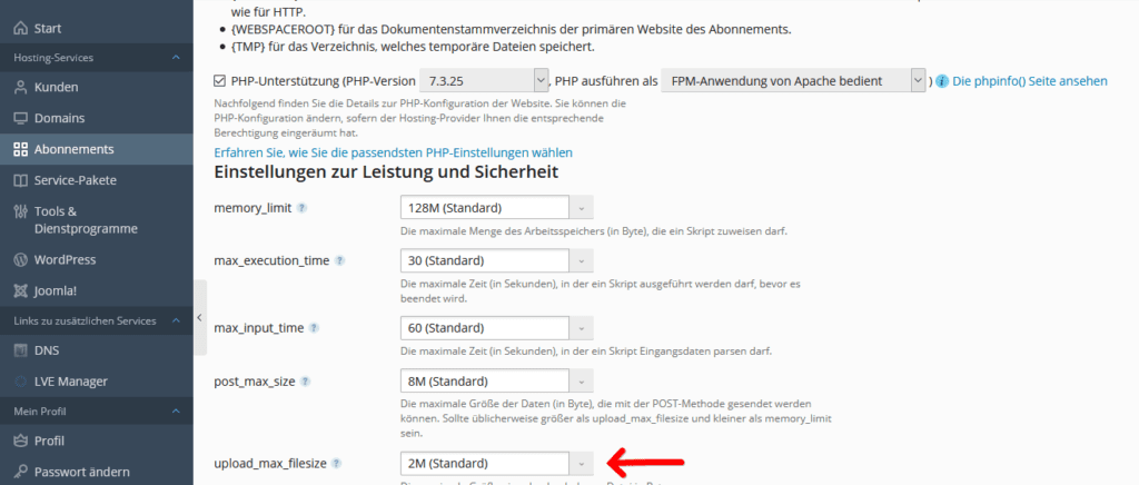 Plesk: Reseller: PHP-Einstellungen upload_max_filesize