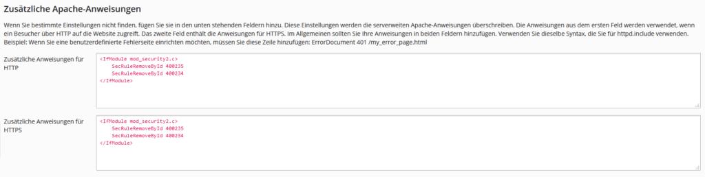 Plesk: Zusätzliche Apache-Anweisungen Bots