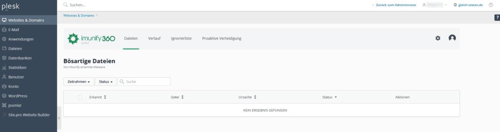 Automatische Bereinigung - Imunify360 Dateien