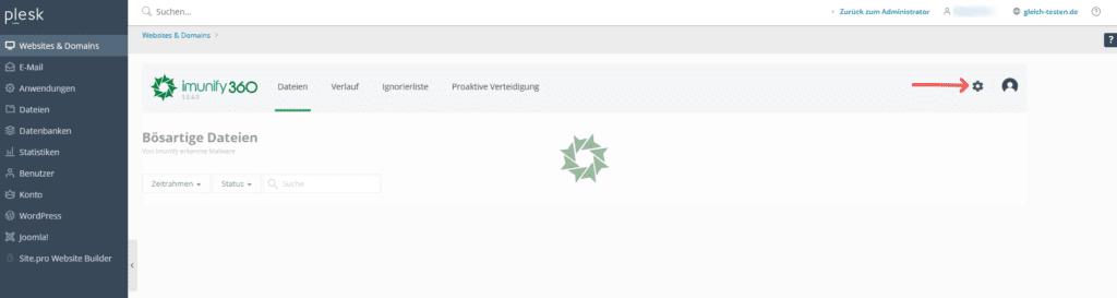 Automatische Bereinigung - Imunify360 Einstellung Button
