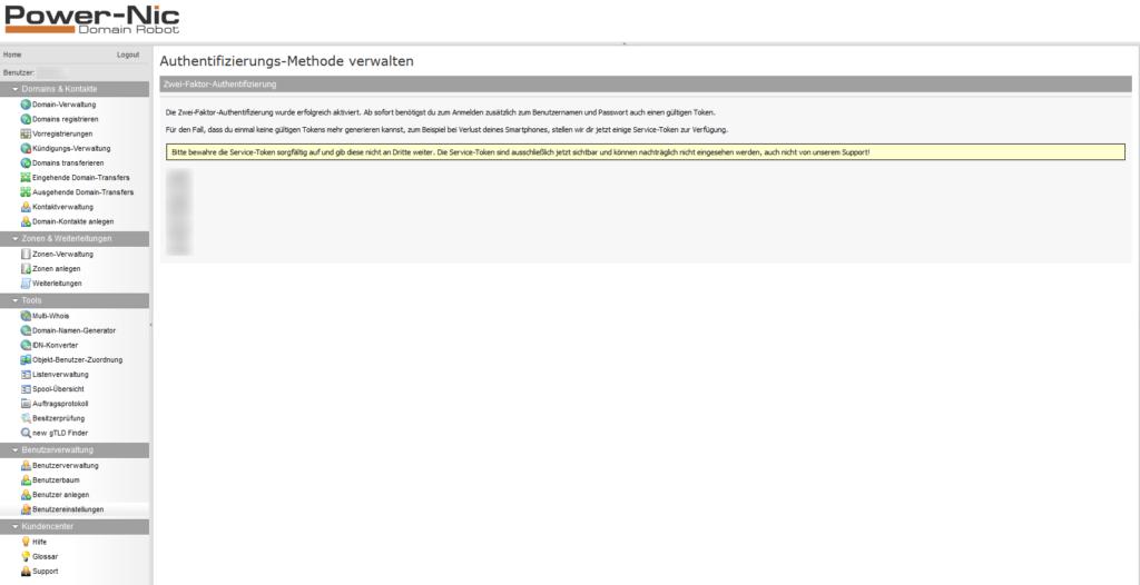 2-Faktor-Authentifizierung: Domainrobot - Aktiviert