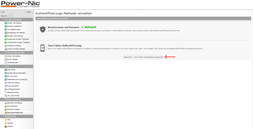 2-Faktor-Authentifizierung: Domainrobot - Aktivierung