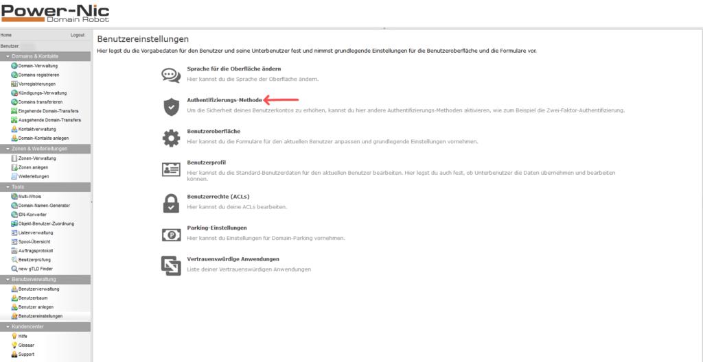 2-Faktor-Authentifizierung: Domainrobot - Benutzereinstellungen