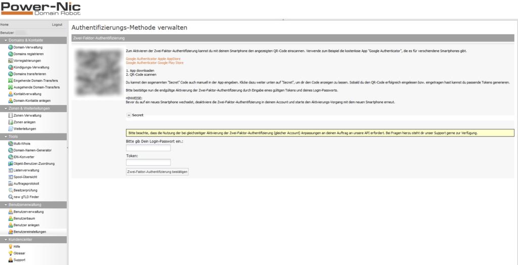 2-Faktor-Authentifizierung: Domainrobot - Einstellungen