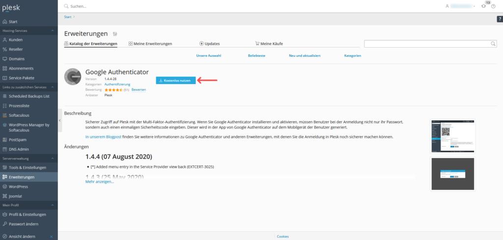 2-Faktor-Authentifizierung: Plesk - Google Authenticator
