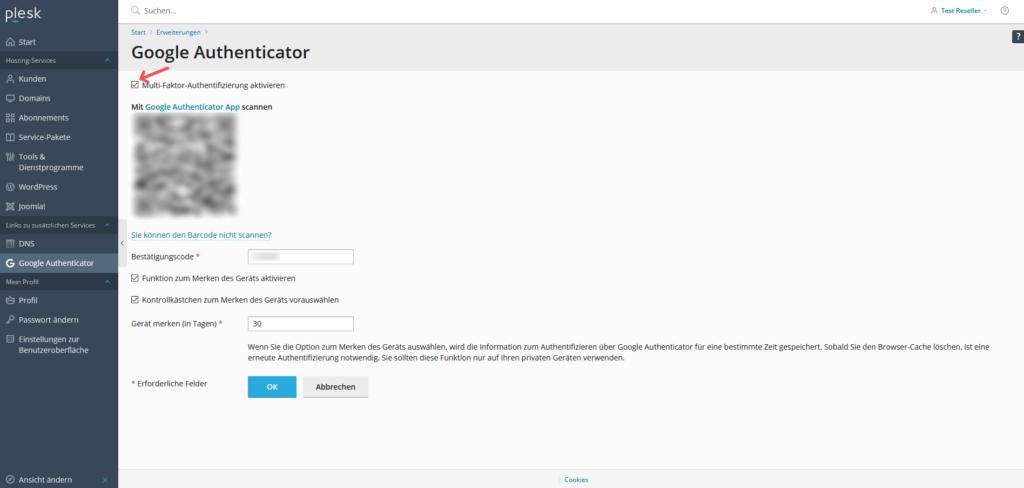 2-Faktor-Authentifizierung: Plesk - Einstellungen Reseller