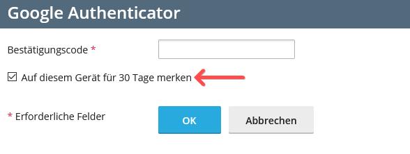 2-Faktor-Authentifizierung: Plesk - Vorauswahl