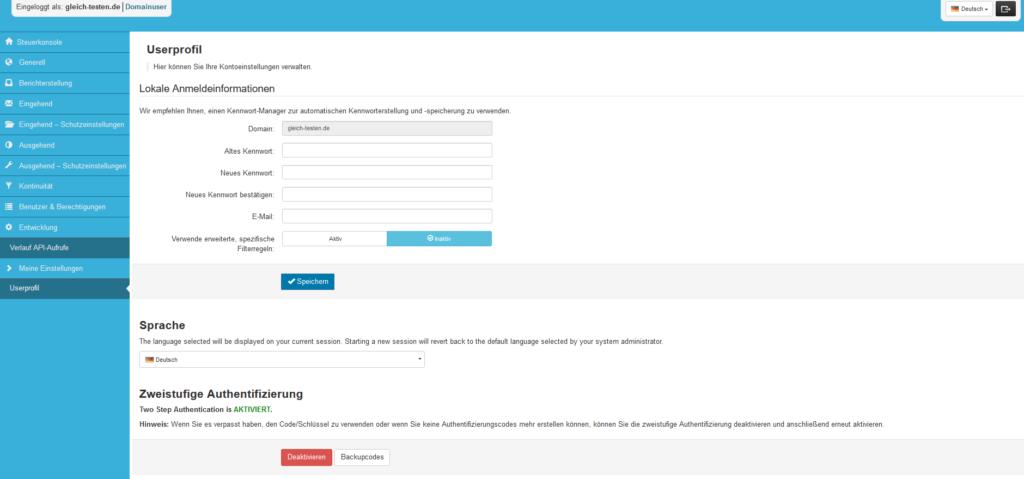 2-Faktor-Authentifizierung: SpamExperts - Aktiviert
