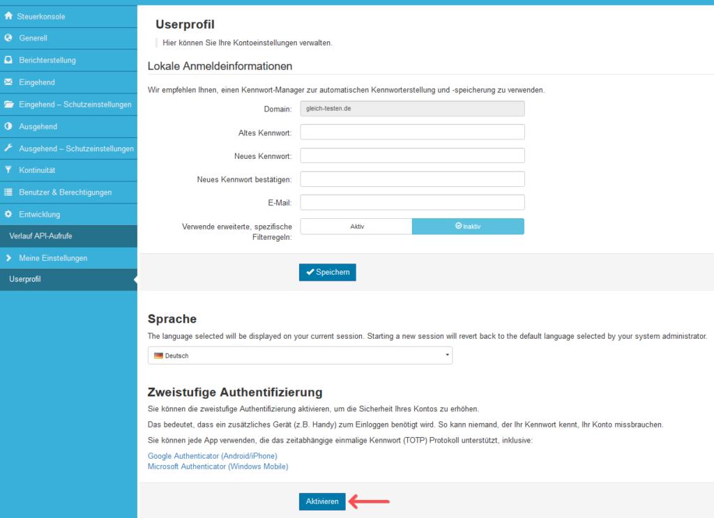 2-Faktor-Authentifizierung: SpamExperts - Einstellungen