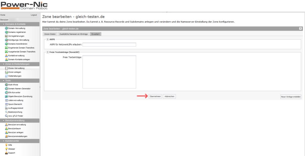 Domainrobot: DNS-Zone bearbeiten - Erweitert