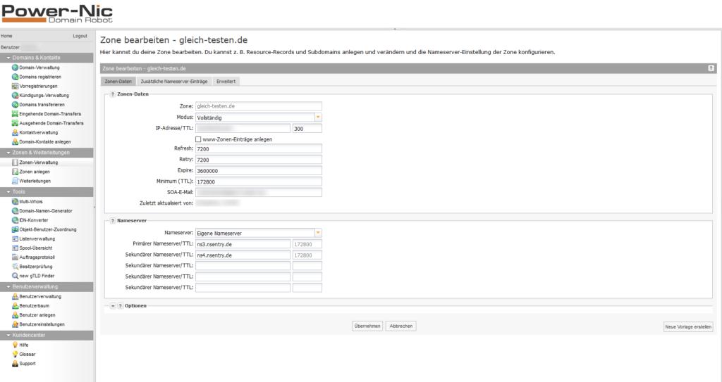 Domainrobot: DNS-Zone bearbeiten - Zonen-Daten