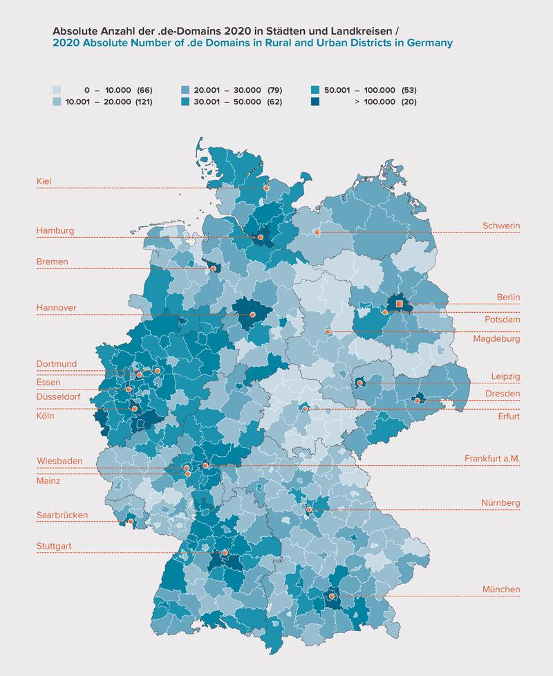 DENIC .de Domain Statistik: Anzahl .de Domains in Deutschland (absolut)
