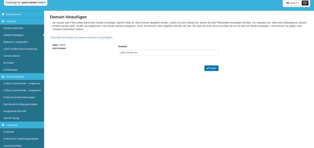 SpamExperts Reseller: Account einrichten - Domain hinzufügen (1/3)