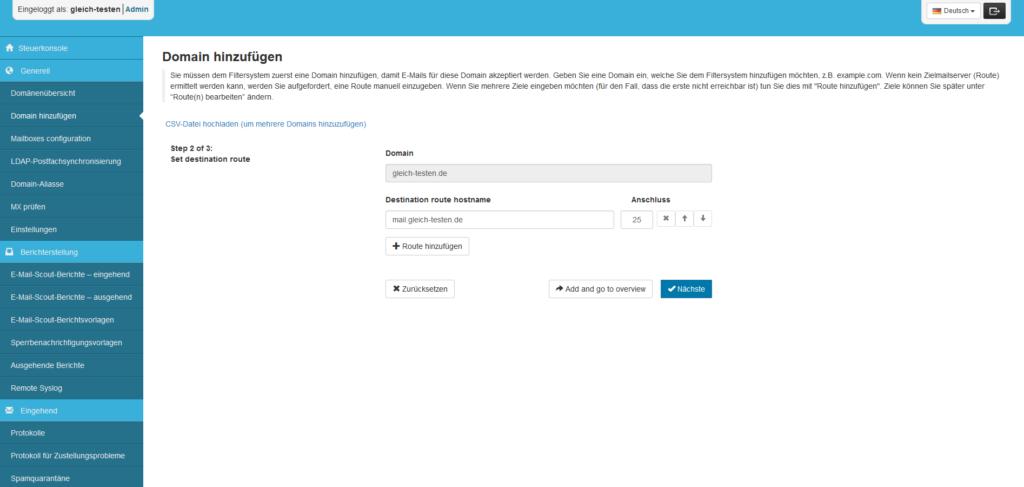 SpamExperts Reseller: Account einrichten - Domain hinzufügen (2/3)