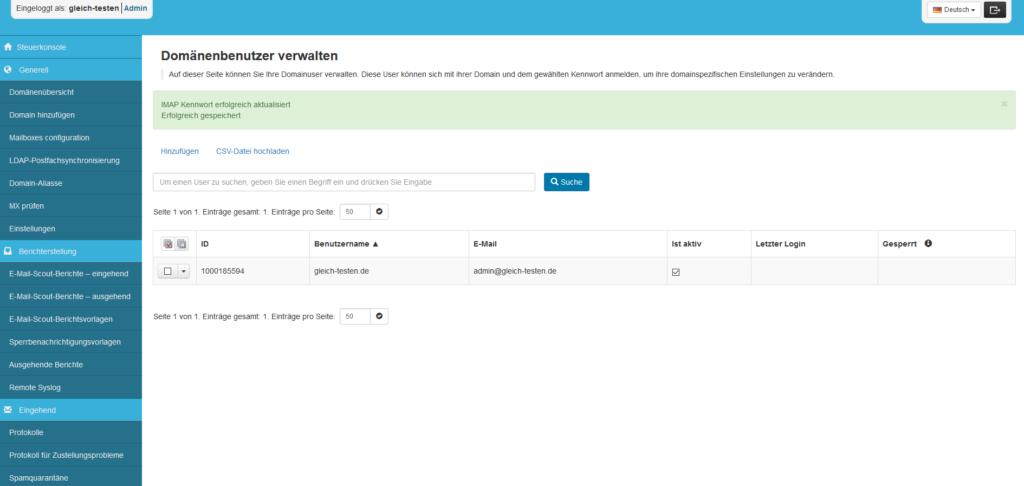 SpamExperts Reseller: Account einrichten - Domänenbenutzer angelegt