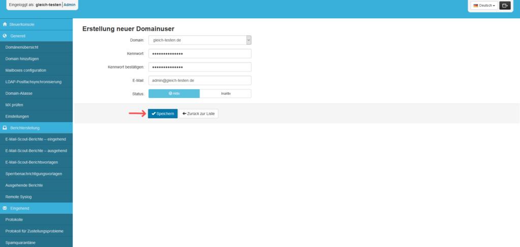 SpamExperts Reseller: Account einrichten - Domänenbenutzer Daten