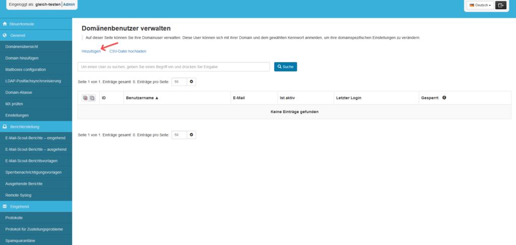 SpamExperts Reseller: Account einrichten - Domänenbenutzer Liste